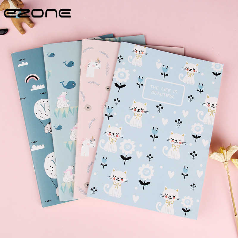 EZONE 1PC A5 Cartoon Animals Notebook Diary Notebook Line Pages 60 Pages Students Memo Pad Small Gifts School Office Supply