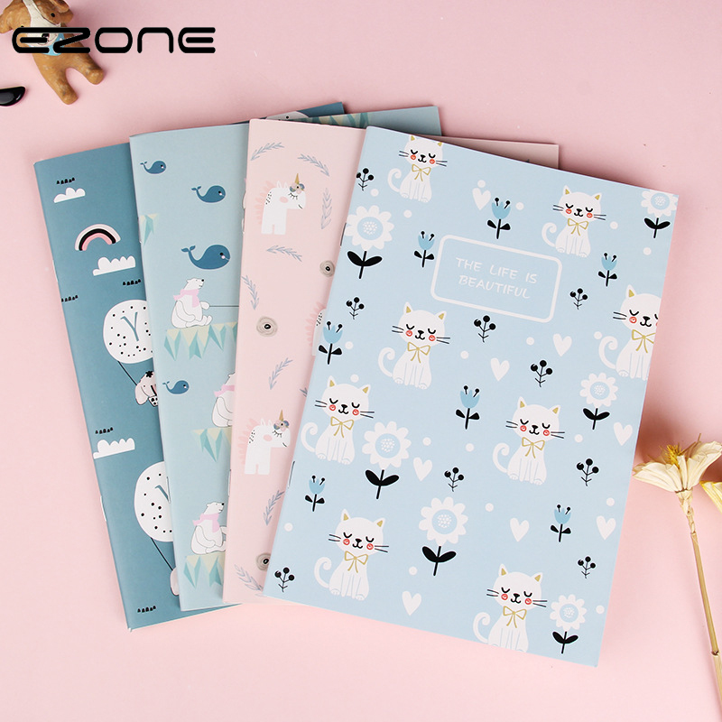 EZONE 1PC A5 CartoonTheme Notebook Diary Book Line Pages Students Memo Pad Stationery Notepad Small Gifts School Office Supply