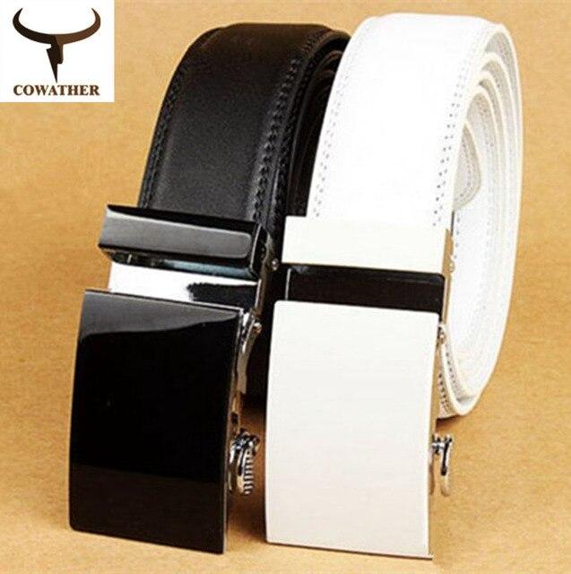[ Cowather ] 2015 белый и черный чистый цвет корова натуральная кожа пояса для мужчин продажи автоматическая мужские пояса starp продажа бесплатная доставка