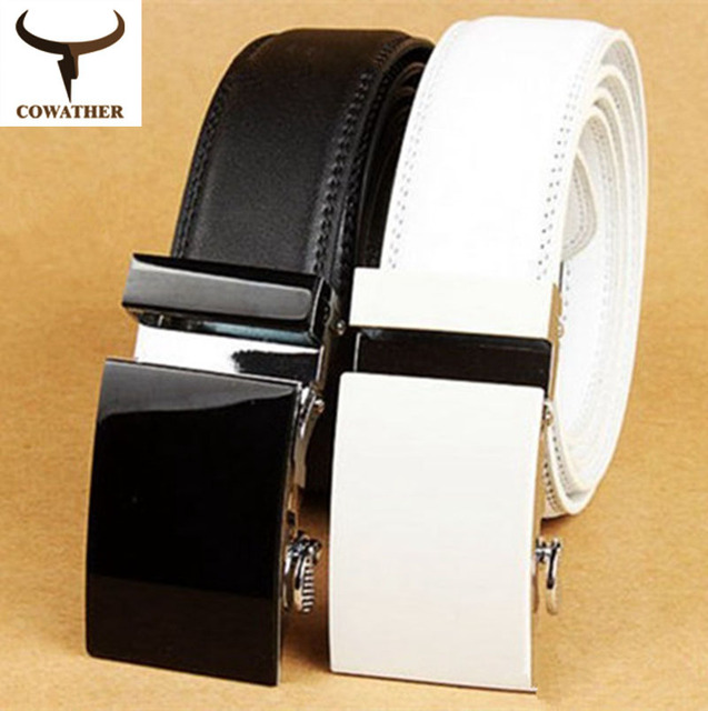 COWATHER 2016 white and black pure color cow genuine leather belts for men sale automatic mens belt starp sale freeshipping