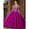 2017 New Green Purple Elegant Sheer Scoop Quinceanera Dresses Delicate Beading Vestido Ball Gown Prom Dress for Sweet 16 Years