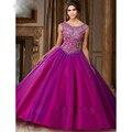 2017 nuevo verde púrpura elegante pura scoop vestidos de quinceañera rebordear delicado vestido de bola vestido de fiesta para sweet 16 años