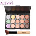 ACEVIVI 15 Colores de Maquillaje Crema Facial Corrector Paleta + Cepillo de Polvo