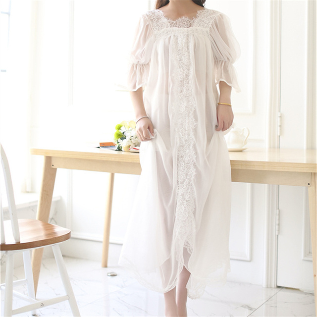 New Arrivals Lace Nightgowns Vestido Casa Suave Sono Camisas Elegante Camisola Sexy Roupa Interior Confortável Camisola # HH41