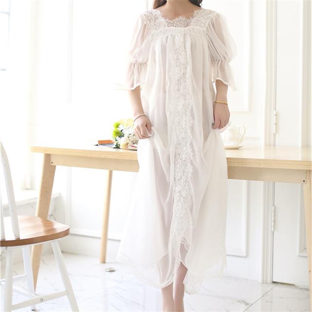 Nuevas Adquisiciones de Encaje Camisones Vestido de Casa Suave Sueño Camisas Elegante Camisón Sexy Ropa Interior Camisón Cómodo # HH41