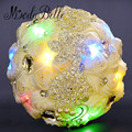 LED Lights Romantic Beaded Crystal Wedding Bouquets Bridal Fowers Artificial Brooch Bouquet Cream Red Bouquet De Mariage Purple