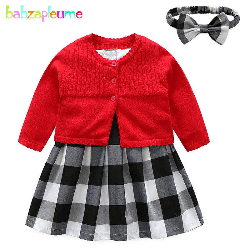 0426833f074b 3PCS Spring Summer Kids Clothes Baby Christmas Outfits Cute Knit Cardigan  Coat+Plaid Dress+Headband Girls Clothing Sets BC1566-in Clothing Sets from  Mother ...