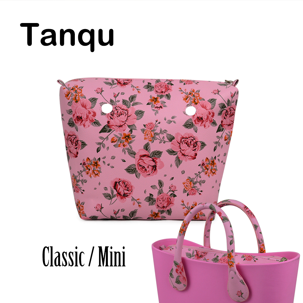 TANQU New Classic Mini Floral Print PU Leather Lining Zipper Inner Pocket Waterproof Insert for Obag EVA O BAG Women Handbag lining splicing floral print casual wide hem organza midi skirt for women