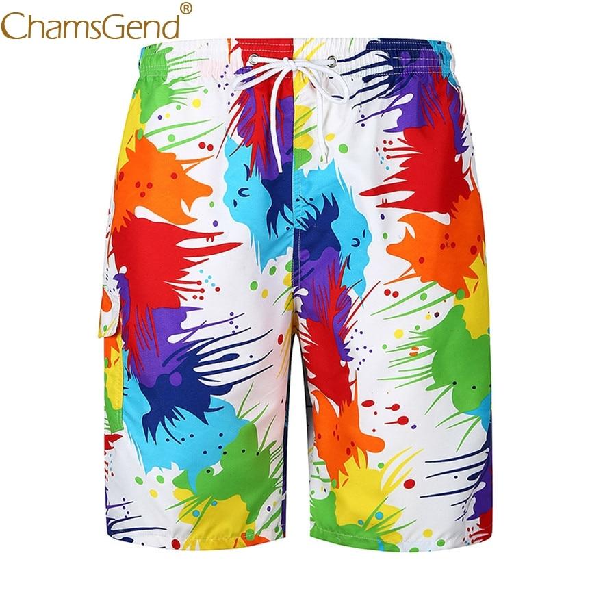 Chamsgend Newly Design Colorful Printing Lace Up Man Beach Swimwear Mens Boardshorts   Board     Shorts   80425
