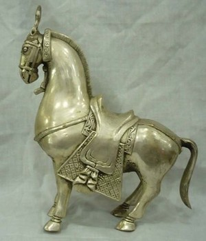 Elaborate Chinese collectable Tibetan silver horse statue