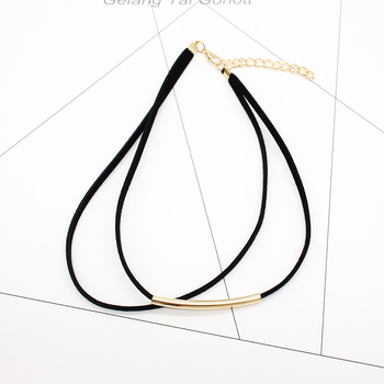 Bending tube Velvet Choker Double layer Style Torque Black Short Leather Necklace 3