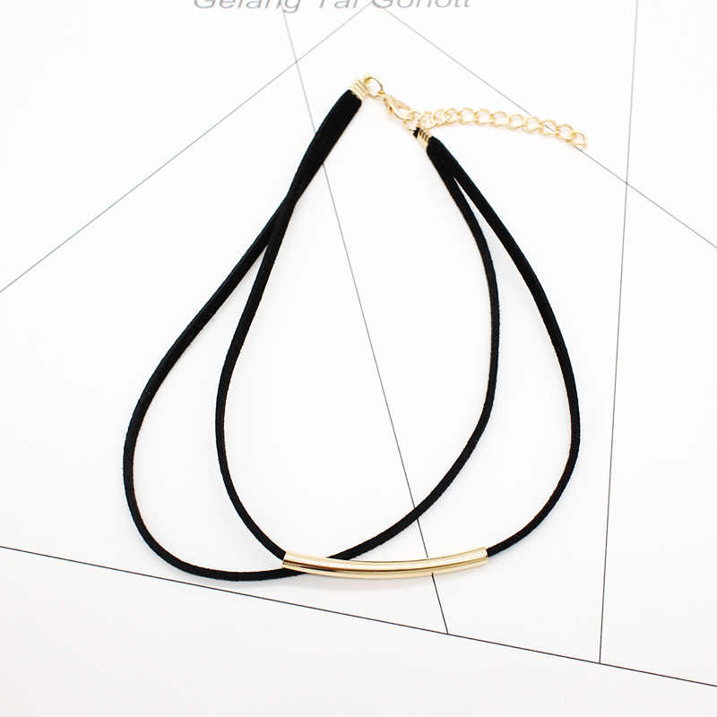Новинка 2019, модное бархатное ожерелье-чокер с гибкой трубкой, Двухслойное Стильное короткое кожаное ожерелье с крутящим моментом, очаровательное колье для женщин
