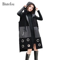 2017 Autumn And Winter New Arrival PU Patchwork Hooded Sleeveless Coats Women Fashion Lambswool Leather Long