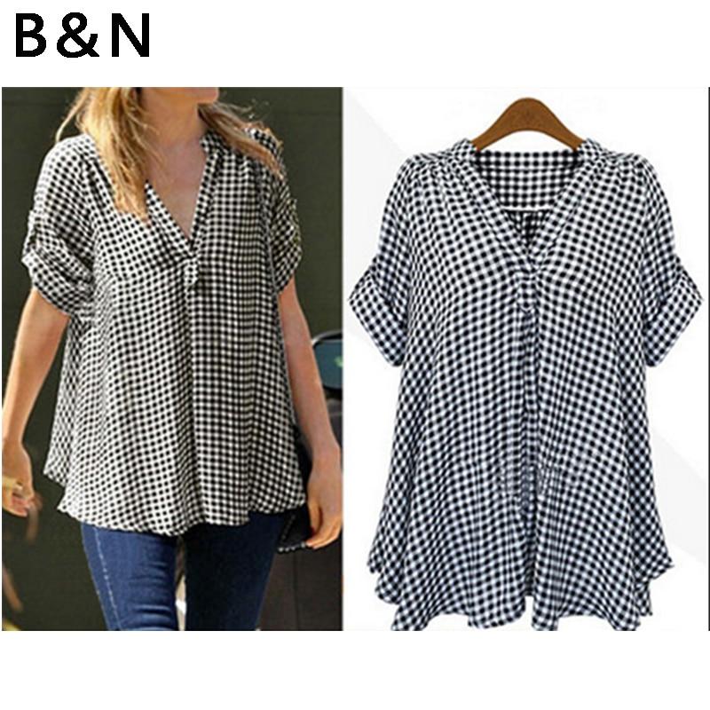 01116116115 V-образным вырезом черно-белая клетчатая рубашка midi узор Блузка Половина  рукава большой размер
