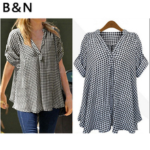V-neck Black and white checked shirt midi pattern Blouse Half Sleeve Large Size Loose   women cute plus size scoop neck bird pattern blouse for women