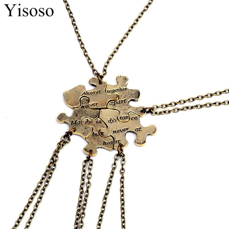 "Yisoso 5 pcs/set Puzzle Splice Best Friends Necklace Jewelry Letter ""Always Together Never Apart"" Necklace Set Wholesale XL022"
