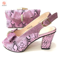 2018 New Pink Color Italian Shoes with Matching Bags Set African Matching Shoes and Bags Italian In Women Nigerian Shoe and Bag