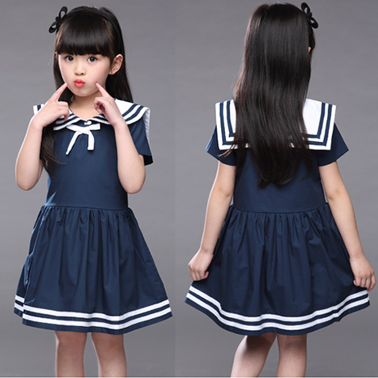 Korean Children Clothes Summer Kids Girls Baby Short Sleeve Stripped Princess Cute School Uniforms Navy Style Dress family fashion summer tops 2015 clothers short sleeve t shirt stripe navy style shirt clothes for mother dad and children