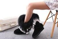 иноэ/модные с натуральным лисьим мехом корова замша женская зимние ботинки для женщин зимняя обувь кроличий мех кисточки высокое качество