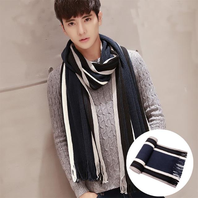 Otoño e invierno moda casual hombres calientes cuello estudiante aislamiento térmico de hilados de lana bufanda extra larga con flecos bufanda