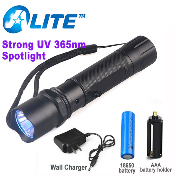 Free Ship 5w powerful ultraviolet black light torch RECHARGEABLE 365 led purple light 365nm uv flashlight