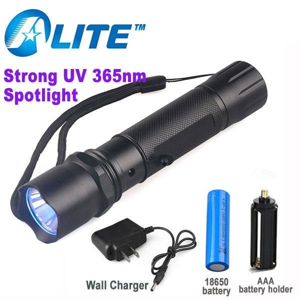 Free Ship 5w powerful ultraviolet black light torch RECHARGEABLE 365 led purple light 365nm uv flashlight
