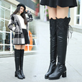 Womens Slim Suede Thigh High Boots Sexy Fashion Chunky Heels Over the Knee Boots Winter Woman Black Long Boots