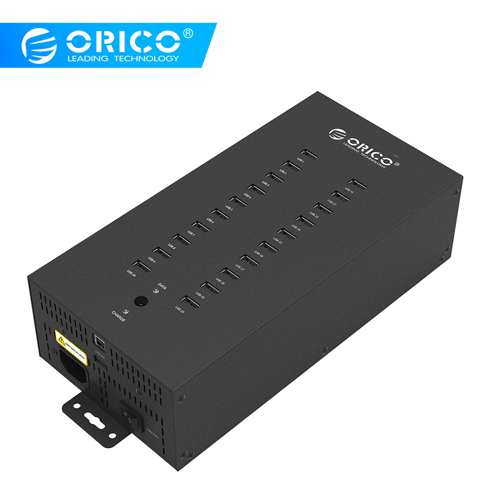 ORICO 20 Ports Industrial USB2 0 HUB with Charge Mode and Date Mode Black IH20P