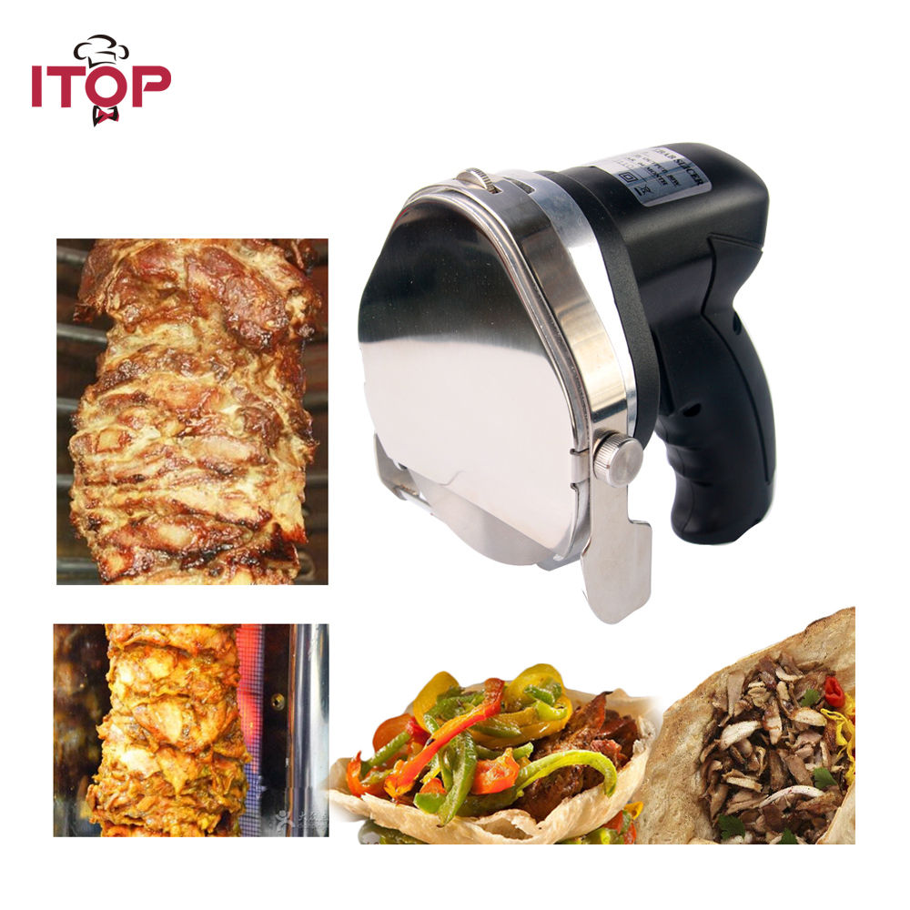 ITOP Automatic Doner Kebab slicer for shawarma, Kebab Knife,Gyros Knife,Gyro Cutter(two blades) 220V 110V 240V portable eyebrow knife with two blades