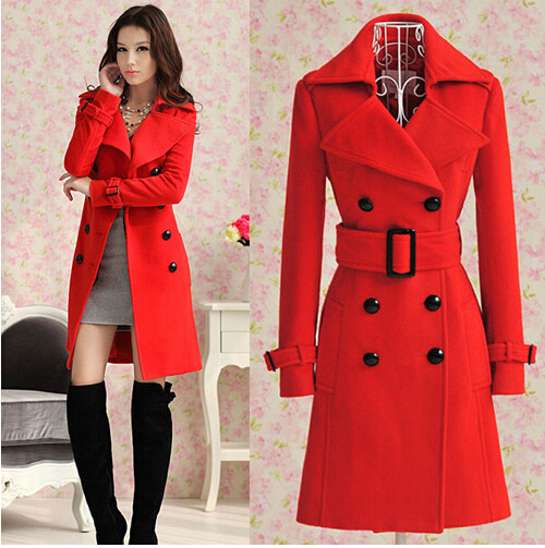 Autumn winter long red woolen women coat women wool coats bride outerwear for wedding party and special occasion free shipping