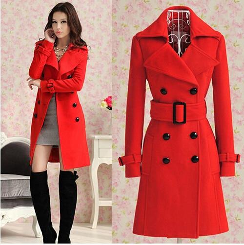 990f3eed9062 Autumn winter long red woolen women coat women wool coats bride ...