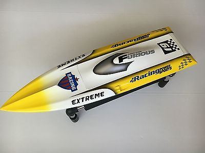 H625 KIT Fiber Glass Pre-painted RC Racing Boat Hull for Advanced Player Yellow h625 pnp spike fiber glass electric racing speed boat deep vee rc boat w 3350kv brushless motor 90a esc servo green