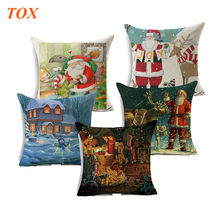 цена на TOX Christmas Style Cushion Cover Santa Claus Xmas Snowman Christmas Greetings Home Decorative  Throw Pillow Case Home Decor