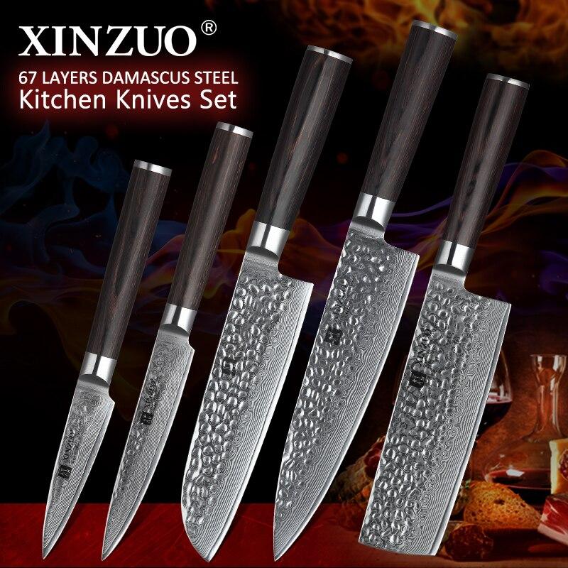XINZUO 5 Pcs Kitchen Knives Set Japanese Damascus Stainless Steel New designed Knife Cleaver Nakiri Knife