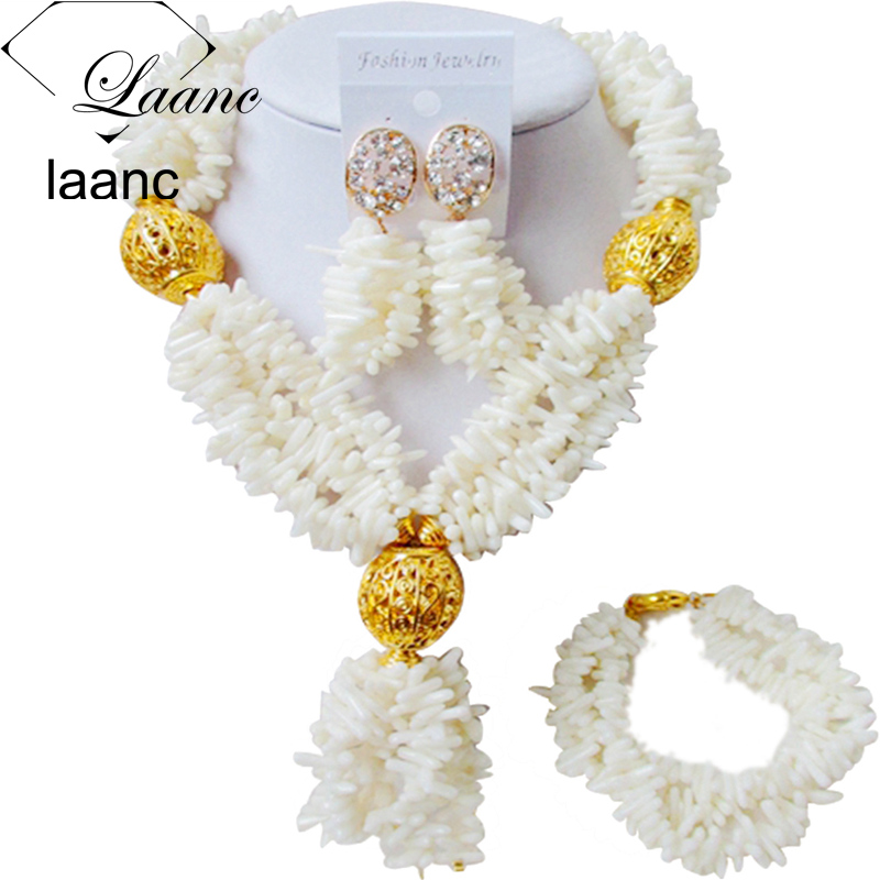 Laanc Nigerian Wedding African Coral Beads Jewelry Set White Necklace Earrings for Women AL491 huayi 10x20ft wood letter wall backdrop wood floor vinyl wedding photography backdrops photo props background woods xt 6396