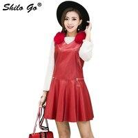 Fashion Street Women's Casual V Neck Sleeveless Fox Fur Stitching A Line Sheepskin Genuine Leather Dress Ladies Dress