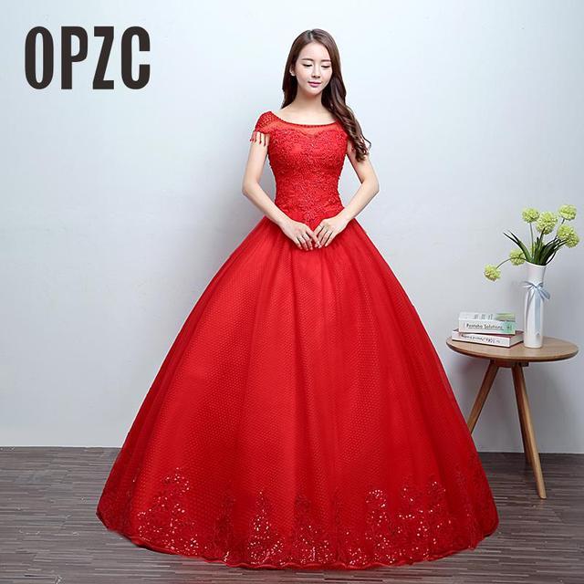 Real Photo Moda O Neck Vestido De Noiva 2017 New Coreano estilo Elegante Princesa Rendas Crescido Vestido de Noiva Vermelho com Apliques Bead