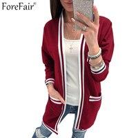 ForeFair Gestreifte Gestrickte Lange Strickjacken Frauen Plus Größe Beiläufige Outwear Schwarz Grau Burgunder Grün Taschen Pullover