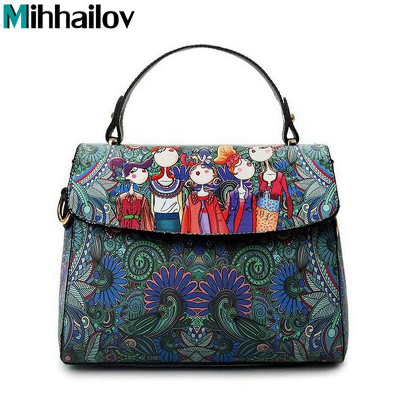 Clamshell Cartoon Square Printing Dark Green Forest Women Leather Messenger Shoulder Bag Retro Tote Bag Woman Handbags XS-34 рюкзак thule stir 20l dark forest 3203552