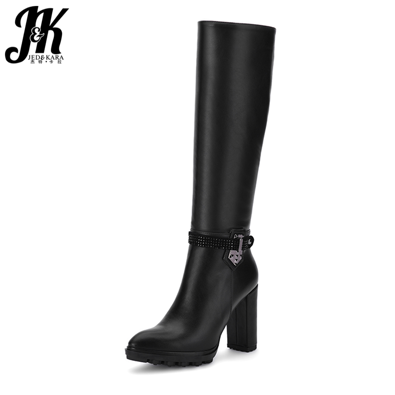 J&K High Quality Ladies Knee High Boots Women Thick High Heels Shoes Woman Short Plush Winter Boots Metal Charm Zipper Platform yougolun woman nubuck winter over the knee snow boots 2018 women thigh high boots ladies square heels thick plush warm shoes