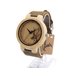 New Fashion Simple Top Brand Wood Men Women Wristwatch Genunie Leather Real Bamboo Wooden Deer Virgin