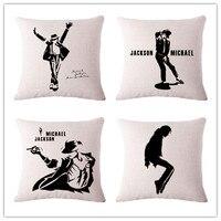 Michael Jackson Dancing Fashion Cool Cotton Linen Decor Zippered Leaning Cushion Covers Sofa Car Decoration Home