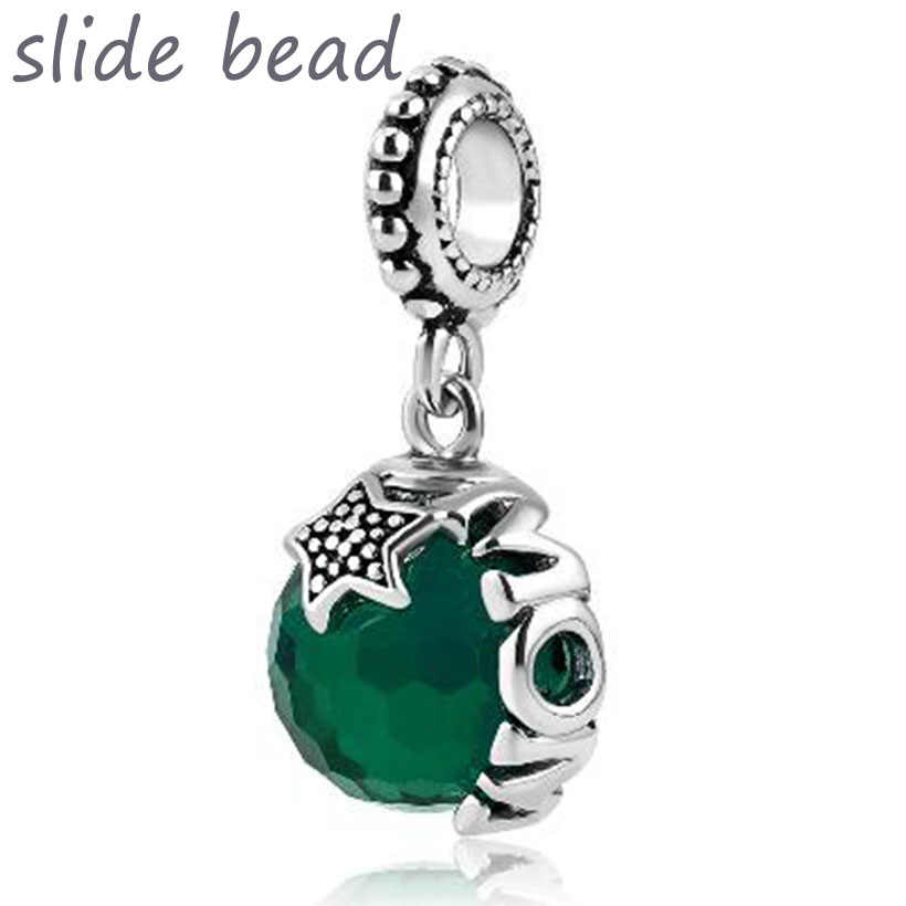 Fit Pandora charm bracelets Mom Plated Light Gree Swarovski Elements Ball Stopper Beads Beads for jewelry making