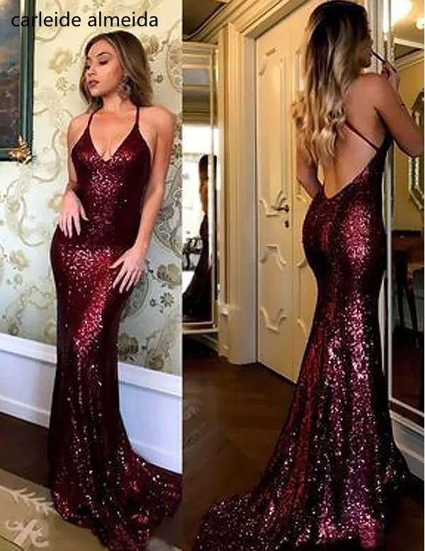 Sequins Lace Mermaid   Prom     Dresses   Cross Back Vestido de fiesta Sweep Train Gala jurken 2018 Abiti da cerimonia donna