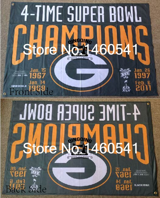 Green Bay Packers 4-Time Super Bowl Champions Flag 3ft x 5ft Polyester NFL Banner Flying Size No.4 144* 96cm QingQing Flag