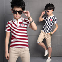 3 13 Years Summer Boys Clothing Set 2019 Fashion 2 Pieces Casual Striped Short Sleeve Children Clothing Sets T shirt + Pants