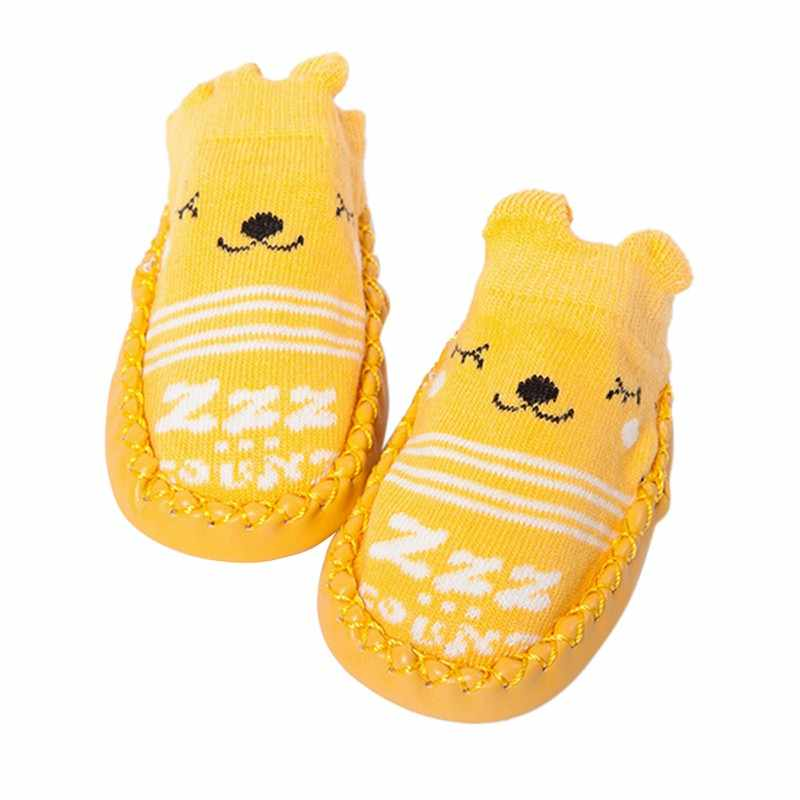 1Pair/set Newborn Toddler Floor Shoes Cartoon Fox Owl With Rubber Sole Prewalker Soft-soled Anti-slip Shoes