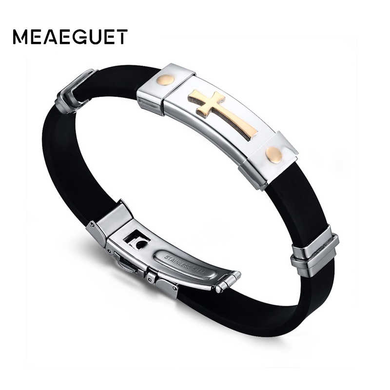 Meaeguet Jewelry Classic Stainless Steel Cross Bracelet For Men Simple Religious Black Rubber Charm Bracelets Spring Clasp