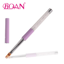 BQAN Acrylic Handle Transparent Rhinestones Flat Nylon Hair UV Gel Brush for Nail Ombre Brush 1pcs Free Shipping