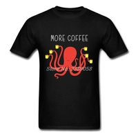 Casual Men T Shirts More Coffee T Shirt Octopus New Brand Graphic Short Sleeve Male T